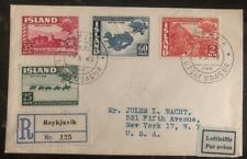 1949 Reykjavik Iceland  Airmail cover To New York USA Stamps #253-56