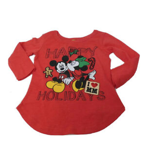 Disney Toddler 18M Red Classic Mickey & Minnie Mouse Christmas Shirt