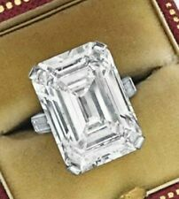 20ct Engagement Ring 925 Sterling Silver White Emerald Cut Baguette Cz New