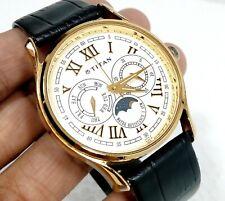 Titan Quartz India Multi Function Moon Phase Designer Cream Dial Mens Watch 38MM