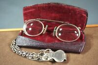 Edwardian Doctors Opticians Eyeglasses Spectacles Glasses Pince-NezˆLeather Case