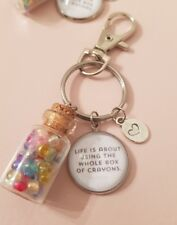 Ru Paul Quote Life..The Whole Box Of Crayons Rainbow Keyring Bag Charm Gift Tag