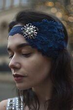 Bleu Marine Perle Argent Plume Coiffe Années 1920 Serre-tête Style Garçonne