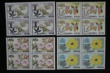 1991 ZAMBIA - TREES / FLOWERS - 4 VALUES IN BLOCKS OF 4 - MNH