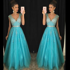 New Formal Beaded Long Bridesmaid Ball Gown Evening Party Cocktail Prom Dresses