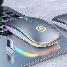 LED Backlit Rechargeable Wireless Mouse USB Ergonomic Optical Gaming PC Laptop