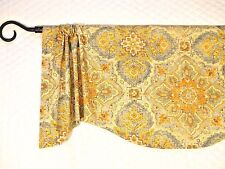 TRIBAL MOSIAC~teal~gold~brown~beige~blue~rust~Valance~curtain~Window~Topper~