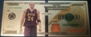 Metal Gold Banknotes Model Kobe Lakers NBA Usa Gold Souvenir Fake Dollars
