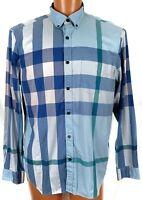 Burberry Brit Mens XXL Fred Navy Nova Check Long Sleeve Button Down Shirt