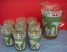 Vintage Glass Pitcher 2 Qt & 8 Glasses Greek Roman Design Green White Clear Set