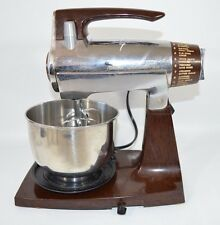 Vtg Sunbeam Mixmaster Chrome/Brown 12 Speed W/Small Bowl & Beaters Works