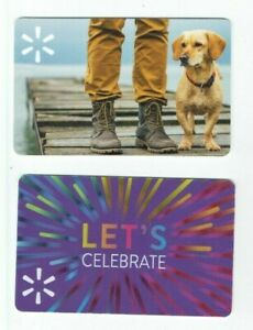 Walmart Gift Card LOT of 2 - Dog on Pier - Pants & Boots - Celebrate - No Value