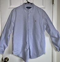 Polo Ralph Lauren Mens Button Down Shirt Classic Fit L Blue Striped Long Sleeve