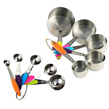 10Pcs Stainless Steel Measuring Cups Spoons + Soft Handle Home Kitchen Tool Set