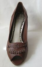 BRAND NEW FIORELLI  BROWN  LEATHER STUDDED PEEP TOE HIGH HEEL SHOES SIZE 11