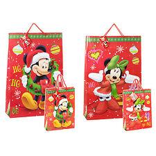 4x Childrens Disney temático dibujos animados Navidad Bolsas de papel Regalo