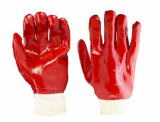 5 PAIRS RED PVC KNIT WRIST GLOVES SIZE LARGE FULLY COATED WATERPROOF HEAVY DUTY