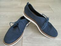 CLARKS Women's Glick Resseta Shoes - Lace Up - Nubuck Blue Leather - UK 7 EU 41