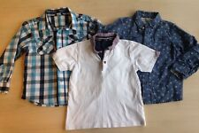 Boys Blue White Shirts Roll Up Long Sleeves T Shirt Cotton Age 4 - 5 VGC