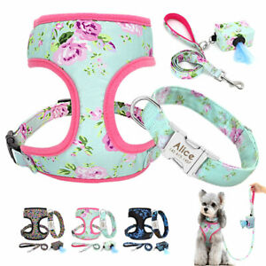Dog Harness and Lead set Personalised ID Name Collar & Pet Waste Bag Dispenser