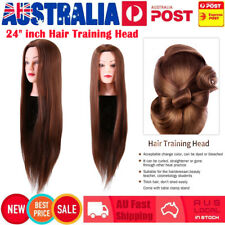 "24"" inch Human Hair Practice Hairdressing Training Head Mannequin Doll + Clamp"