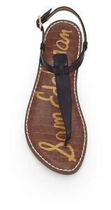 Sam Edelman Gigi Flats Womens Size 8.5 Black Thong Sandals Leather T Strap