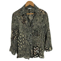 Postie Fashions Womens Top Size 14 Beige Black Boho Long Sleeve Collared Vintage