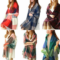 Women Winter Warm Scarf Lady Neck Shawl Wrap Plaid Tartan Soft Large Fashion