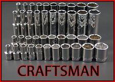 CRAFTSMAN HAND TOOLS 41pc LOT Standard & Deep 1/4 SAE ratchet wrench socket set