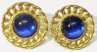 boucles d'oreilles clips bijou vintage cabochon bleu ronde couleur or * 5139