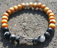"""Silver Dragon Bracelet 8"""" Long Handmade Luxury Men/Women Wood/Black Bead"""