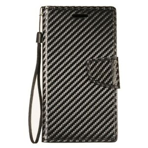 For T-Mobile REVVL 2 - Black Carbon Fiber Card Wallet Pouch Holder Case Cover