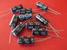10uF 10 uF 250V  105c Radial Electrolytic Capacitor ( Qty 10 ) *** NEW ***