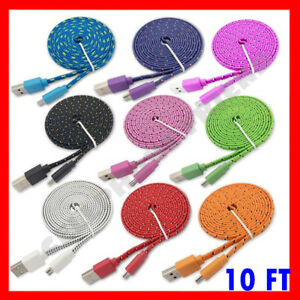 10 FT braided flat Micro USB Fast Charging cable for Android Devices Samsung, LG