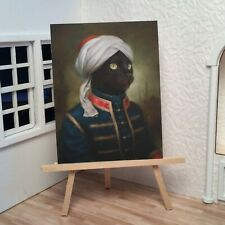 Miniature Dollhouse Shadow Box Art Sultan Black Cat Royal Portrait Handmade