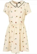 Topshop Cream Peter Pan Collar Wild Pansy Floral Vtg Mini Skater Dress 14 10 42