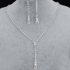 Crystal tennis drop necklace earrings white silver bridal Jewellery set