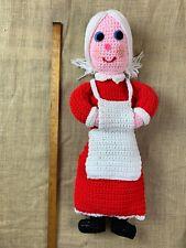 "Vintage All Crochet 24"" Homemade Handmade Mrs Santa Claus Doll"
