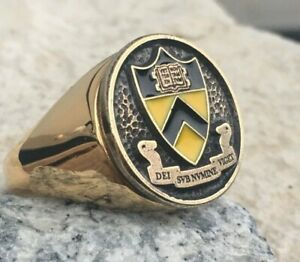 [ SIZE 13.5 UNIVERSITY PRINCETON ] SCHOOL RING BAGUE GOLD STEEL PLATED PIN PATCH