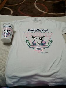 1987 Spuds MacKenzie Official Party Animal Bud Light Shirt White Size Medium