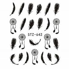 Nail Art Water Decals Stickers Transfers Black Feathers Indian Dreamcatchers 642