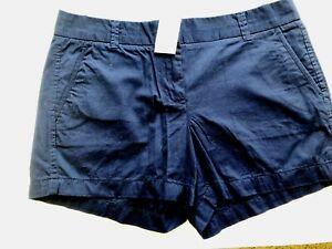 Womens Shorts J.CREW size 10 navy Cotton Broken In Cotton NEW (ja33)