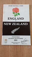 England v New Zealand 1983 Rugby Programme
