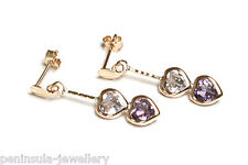 9ct Gold Amethyst Heart Drop Earrings Made in UK Gift Boxed