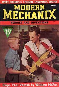 1937 Modern Mechanix April - Edison inventors; Flyer Seversky; Cigarette Magic