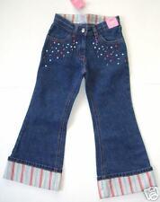 NWT Gymboree PETITE FLEUR Cuffed Denim Jeans Sequin Striped Cuffs Spring Size 4