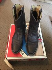 JUSTIN BOOTS JACKSON ROPER #3162 DARK BROWN MARBLE DEERLITE LEATHER BOOTS 10d