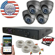 Sikker 4 Channel 720P DVR Recorder Security Camera System with 500GB hard drive