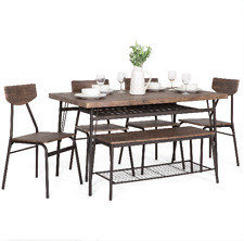 6-Piece 55in Modern Home Dining Set w/ Storage Racks, Rectangular Table, Bench,
