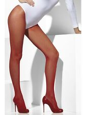 Red Fishnet Tights Ladies Fancy Dress Costume Accessory One Size